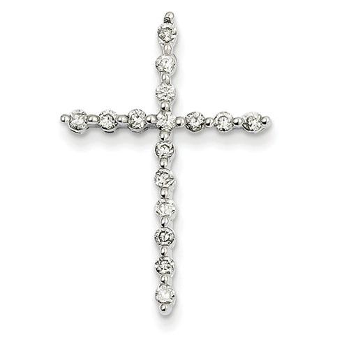 14kt White Gold 1 1/8in Diamond Cross Pendant