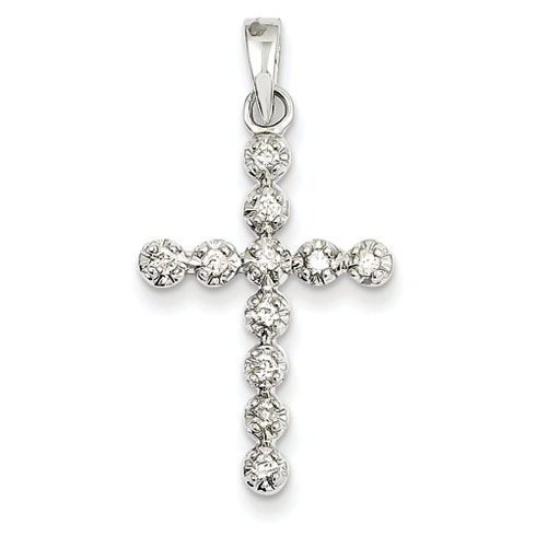14kt White Gold 15/16in Diamond Cross