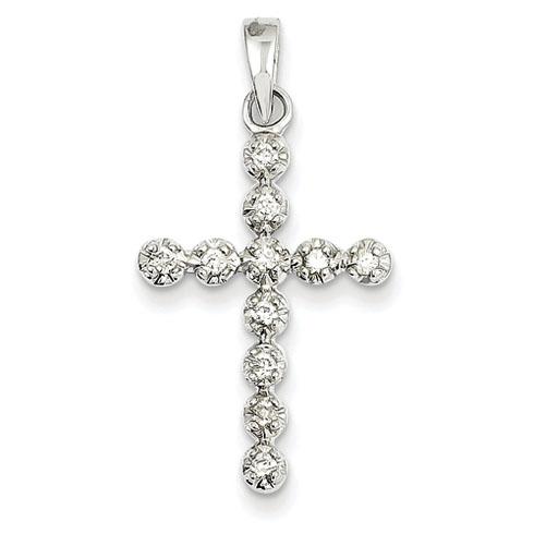 14kt White Gold 15/16in Diamond Cross