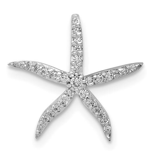 14kt White Gold 1/8 ct Diamond Starfish Pendant Slide