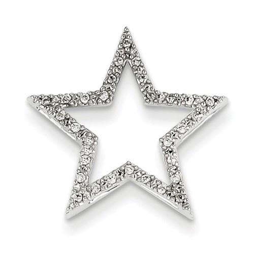 14kt White Gold 1/10 ct Diamond Star Pendant Slide