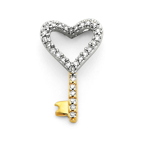 14kt Two Tone Gold 1/8 ct Diamond Heart Key Charm