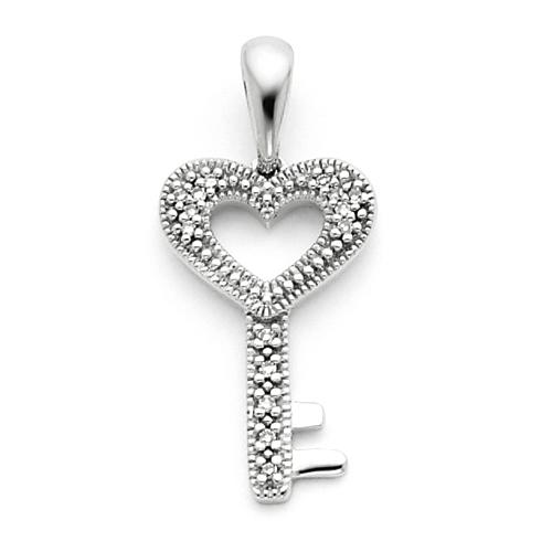 1/20 CT Diamond Heart Key Pendant 3/4in