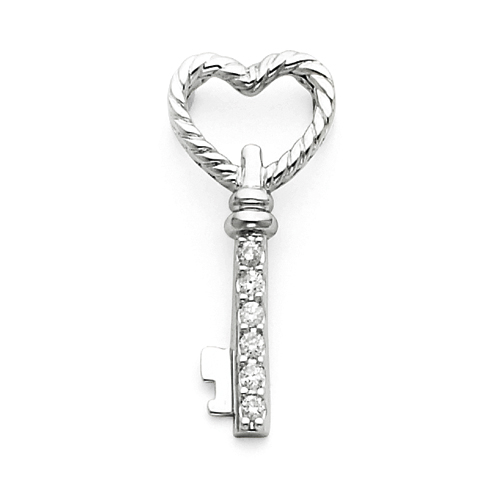 1/10 CT Diamond Key Pendant 7/8in - 14k White Gold