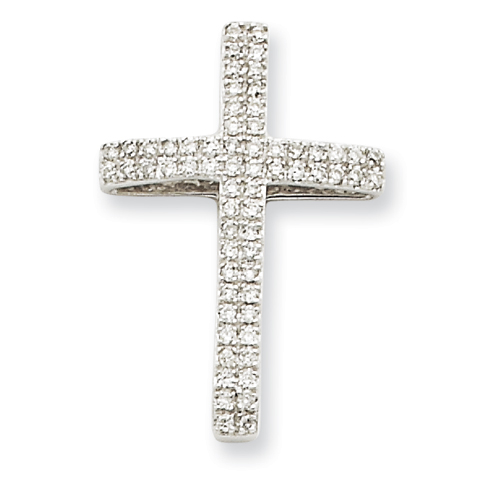 14kt White Gold 1/4 ct Diamond Cross Pendant