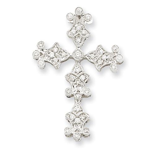 14kt White Gold 1 1/8in Diamond Filigree Cross Pendant