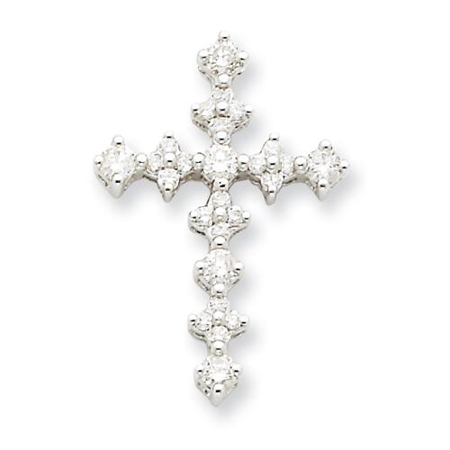 14kt White Gold 7/8in Diamond Passion Cross Pendant