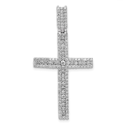 14kt White Gold 1 3/4in Diamond Latin Cross Pendant