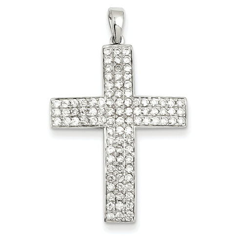 14kt White Gold 1 ct Diamond Latin Cross Pendant 1 1/8in