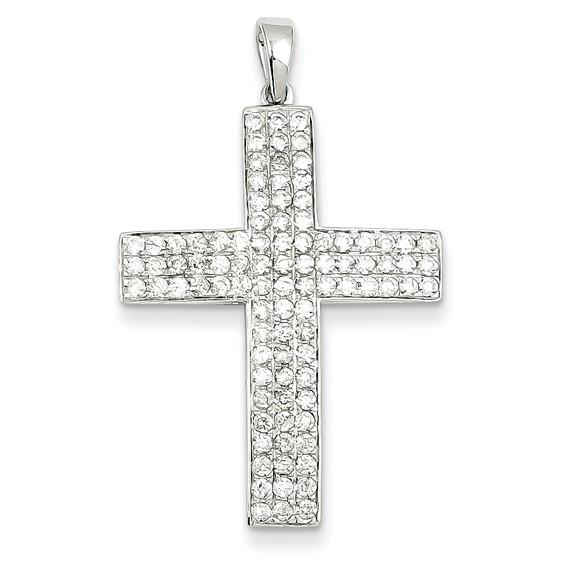 14kt White Gold 1 1/8in Diamond Latin Cross Pendant