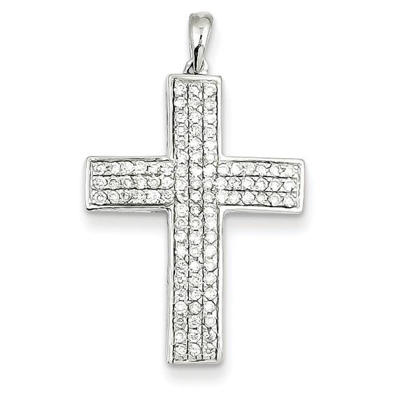 14kt White Gold 15/16in Diamond Latin Cross Pendant