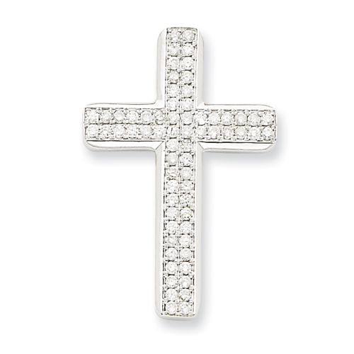 14kt White Gold 1 1/8in Diamond Latin Cross Pendant