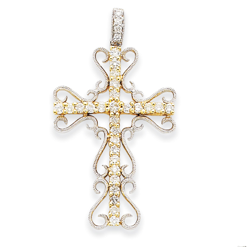 14kt Two-tone Gold 1 1/2in Diamond Filigree Cross Pendant