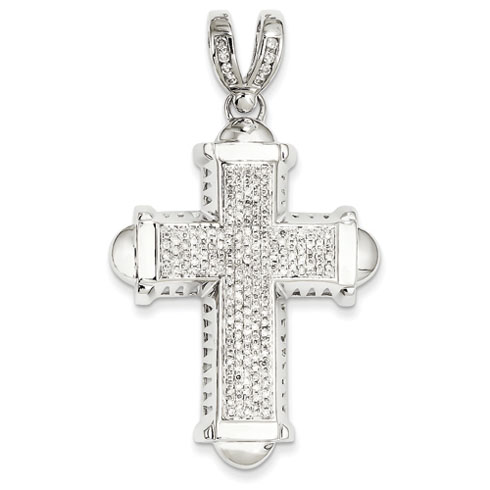 14kt White Gold 2 1/4in Diamond Cross Pendant