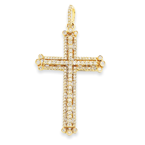 14kt Yellow Gold Diamond 2in Budded Cross Pendant