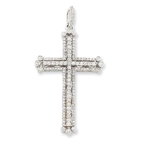 14k White Gold 0.95 ct Diamond Budded Cross Pendant 2in