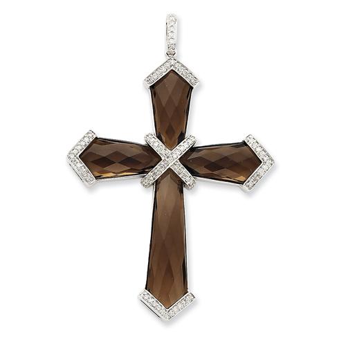 14kt White Gold 1 1/2in Diamond Smoky Quartz Cross