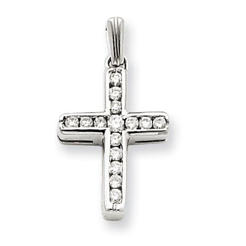 14kt White Gold 5/8in Diamond Latin Cross Pendant