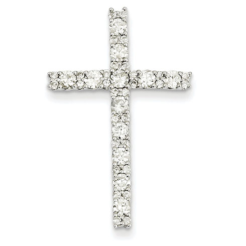 14kt White Gold 1 1/4in Diamond Latin Cross Pendant