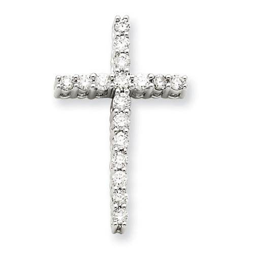 14kt White Gold 1in Diamond Cross Pendant
