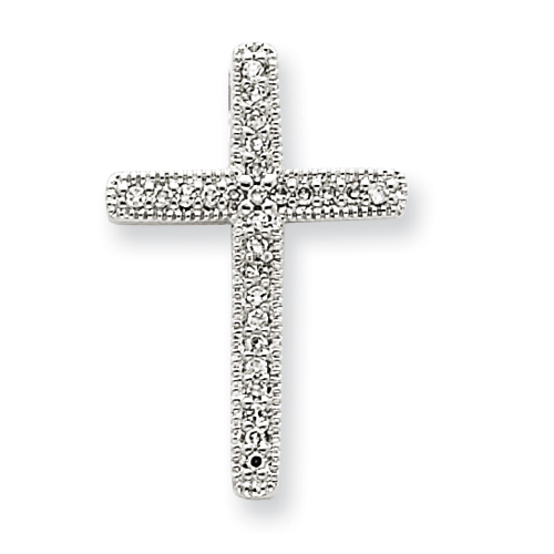 14kt White Gold 3/4in Diamond Cross Pendant with Beaded Edges