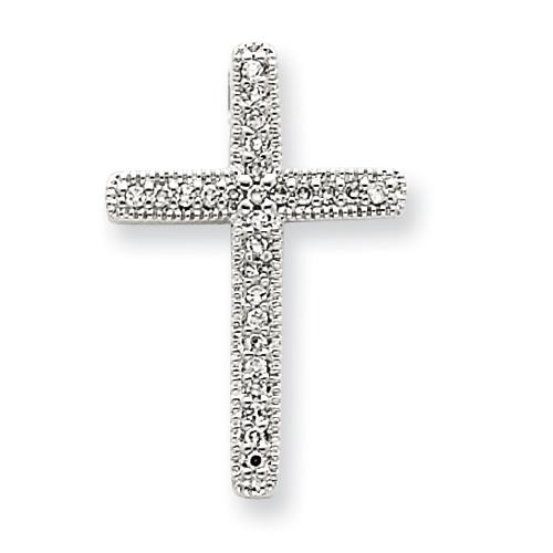 14kt White Gold 3/4in Diamond Cross Pendant with Beaded Edges