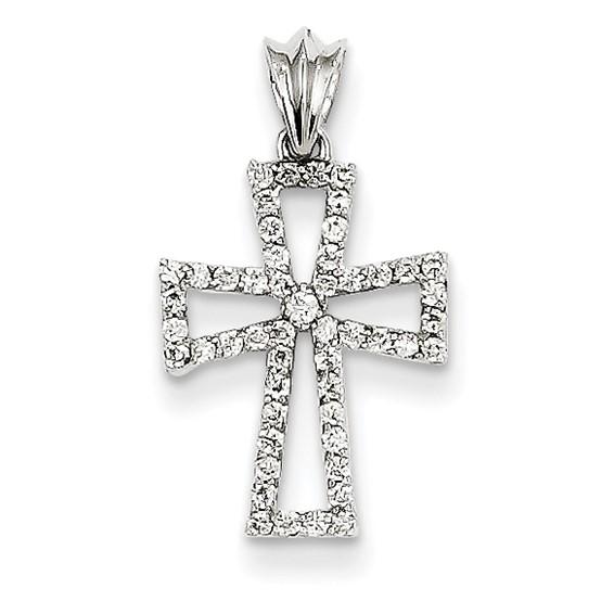 14kt White Gold 5/8in Diamond Cross Pendant