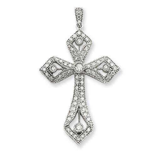 14kt White Gold 1 5/8in Diamond Cross Pendant
