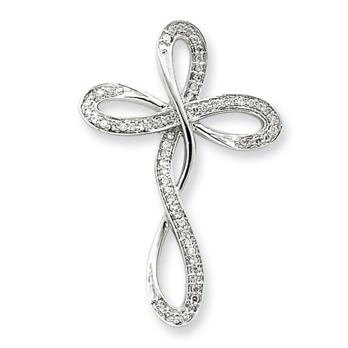 14kt White Gold 1 1/4in Diamond Cross Pendant