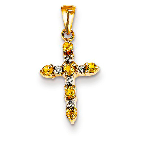 14kt Yellow Gold 5/8in Citrine and Diamond Cross Pendant