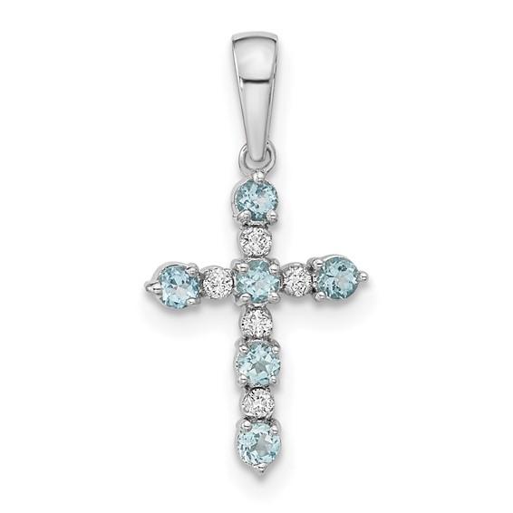 14k White Gold 5/8in Blue Topaz and Diamond Cross Pendant