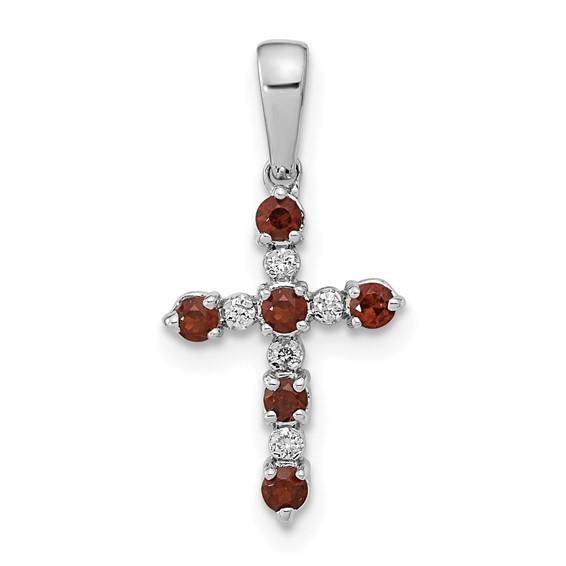 14k White Gold 5/8in Garnet and Diamond Cross Pendant