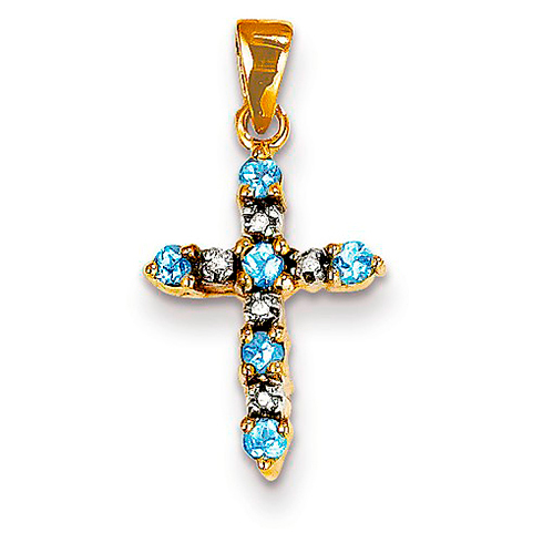 14kt Yellow Gold 5/8in Blue Topaz and Diamond Cross Pendant