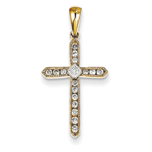 14kt Yellow Gold 1/4 ct Diamond Beaded Cross Pendant