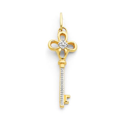 1 1/2in 14k Diamond Key Pendant