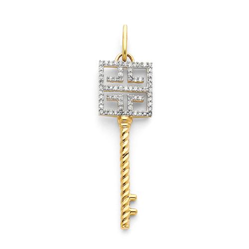 1 3/4in 14k Greek Key Diamond Key Pendant