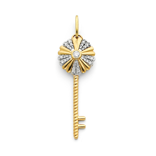 14kt Yellow Gold 1/3 ct Diamond Key Starburst Pendant