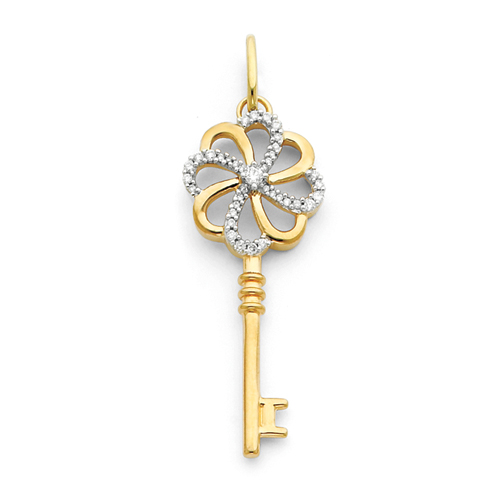 1 5/8in 14k Diamond Key Pendant