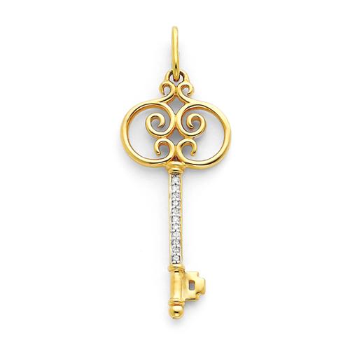 14kt Yellow Gold 1/10 ct Diamond Key Pendant