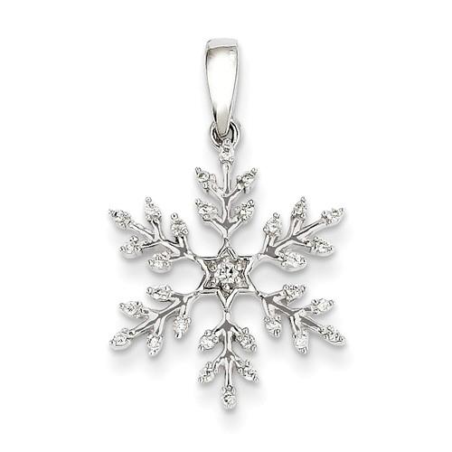14kt White Gold 3/4in Diamond Snowflake Pendant