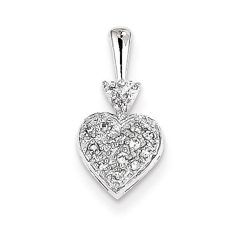 14kt White Gold 3/8in Diamond Heart Pendant