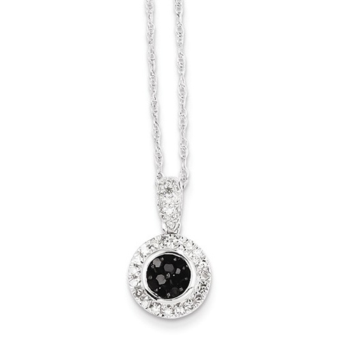 14kt White Gold Black and White Diamond Circle Necklace