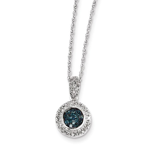 14kt White Gold 1/3 ct Blue and White Diamond Circle Necklace
