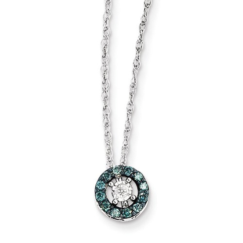 14kt White Gold 1/8 ct Blue and White Diamond Circle Necklace