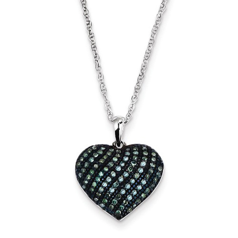 14kt White Gold 1/4 ct Blue Diamond Heart Necklace