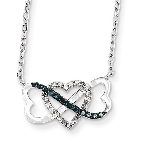 14kt White Gold 1/10 ct Blue and White Diamond Heart Trio Necklace