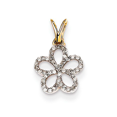 14kt Yellow Gold 1/10 ct Diamond Flower Pendant