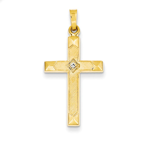 14kt Yellow Gold 1in Hollow Textured Cross with Diamond