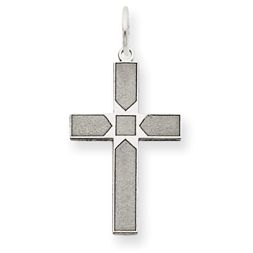 14k White Gold 5/8in Laser Designed Cross Pendant with Square