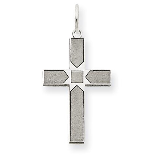 14kt White Gold 5/8in Laser Designed Cross Pendant